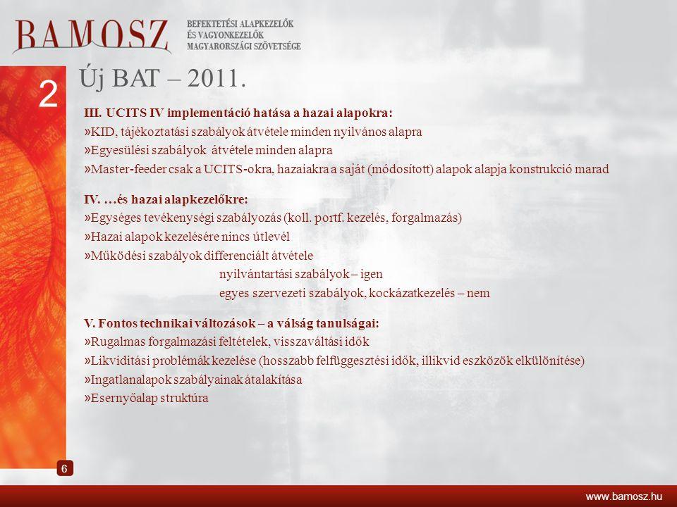 2 Új BAT – 2011. III. UCITS IV implementáció hatása a hazai alapokra: