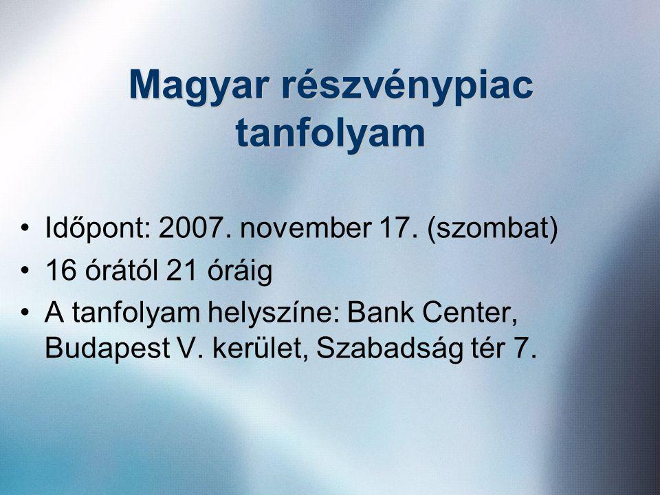 Magyar részvénypiac tanfolyam