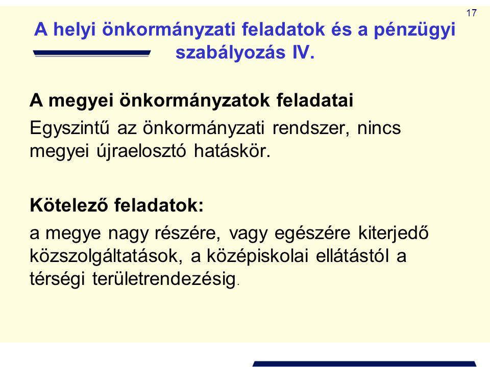 A helyi önkormányzati feladatok és a pénzügyi szabályozás IV.