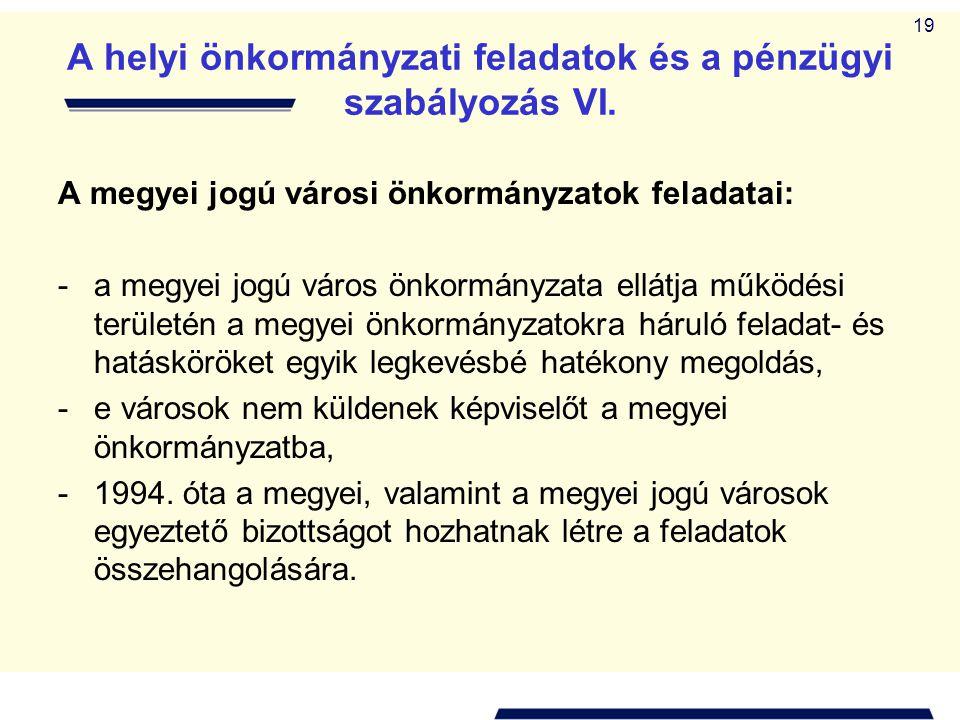 A helyi önkormányzati feladatok és a pénzügyi szabályozás VI.