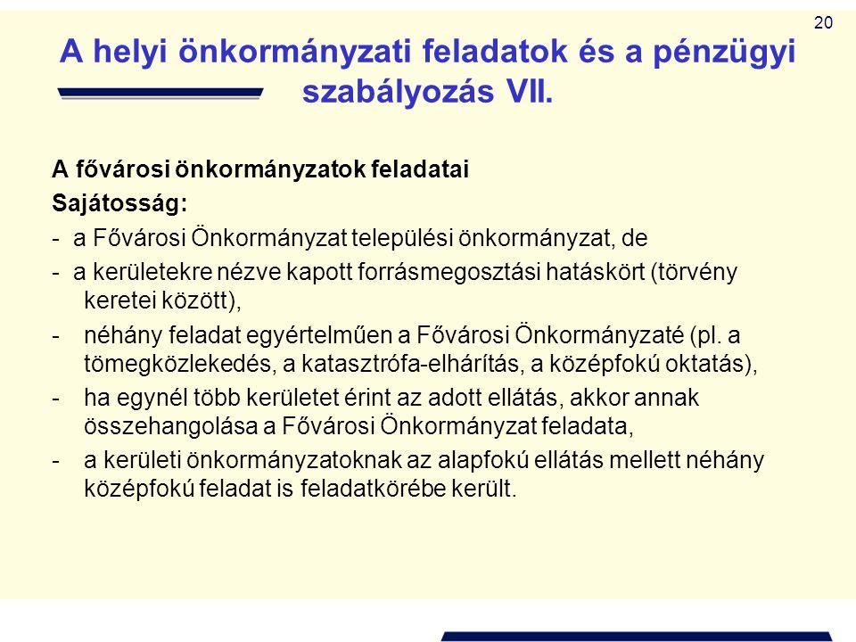 A helyi önkormányzati feladatok és a pénzügyi szabályozás VII.