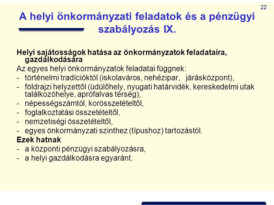 A helyi önkormányzati feladatok és a pénzügyi szabályozás IX.