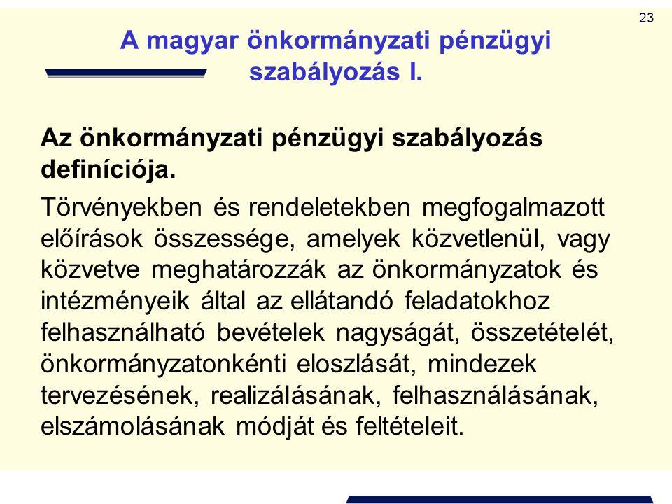 A magyar önkormányzati pénzügyi szabályozás I.