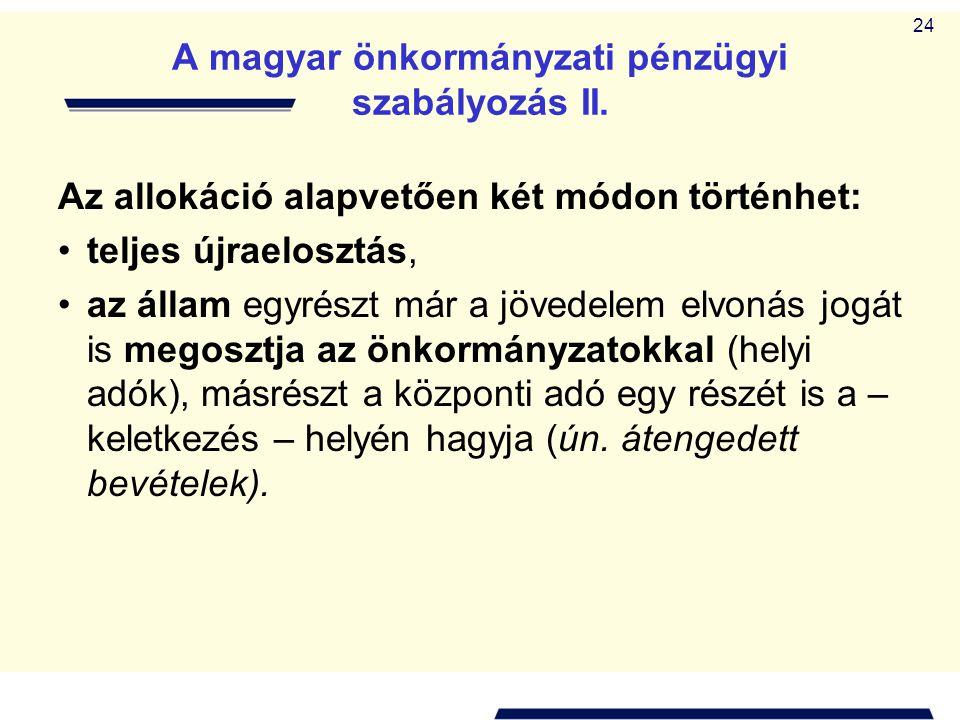 A magyar önkormányzati pénzügyi szabályozás II.