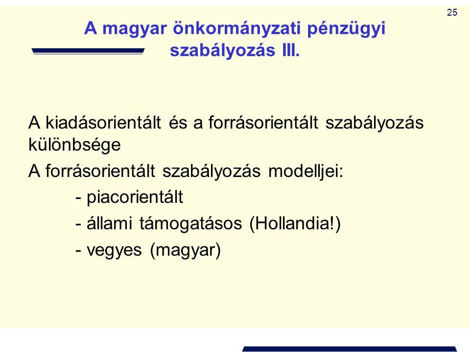 A magyar önkormányzati pénzügyi szabályozás III.