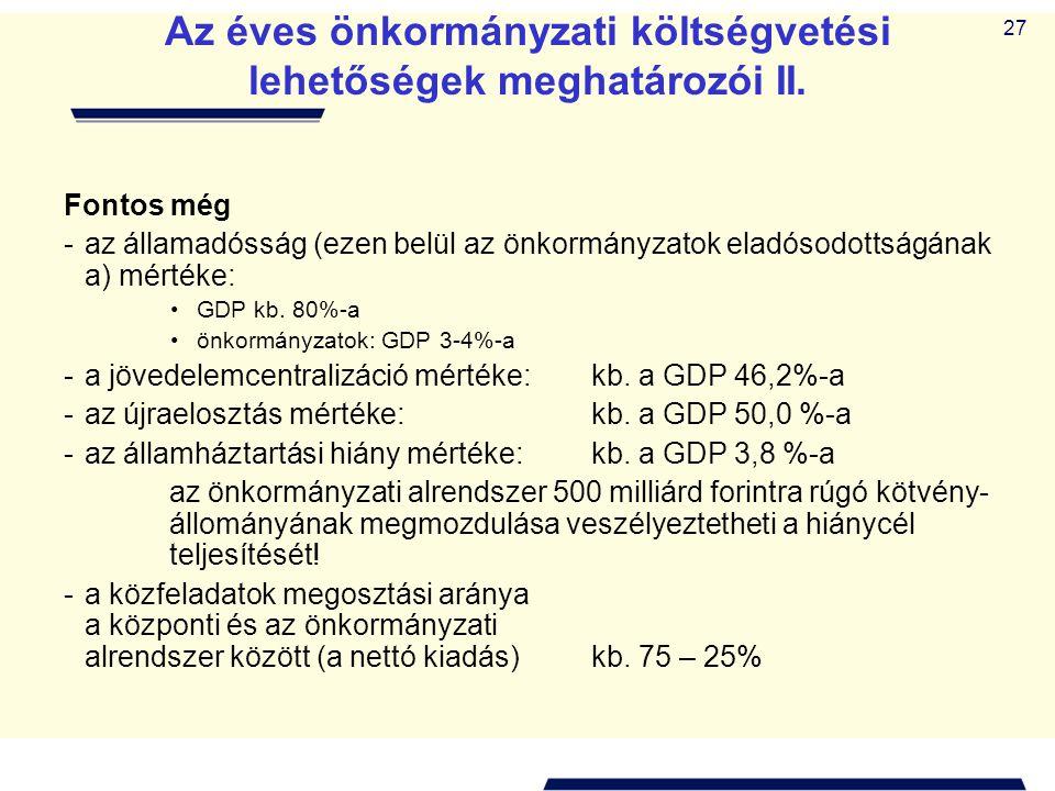 Az éves önkormányzati költségvetési lehetőségek meghatározói II.