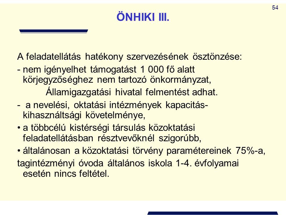 ÖNHIKI III. A feladatellátás hatékony szervezésének ösztönzése: