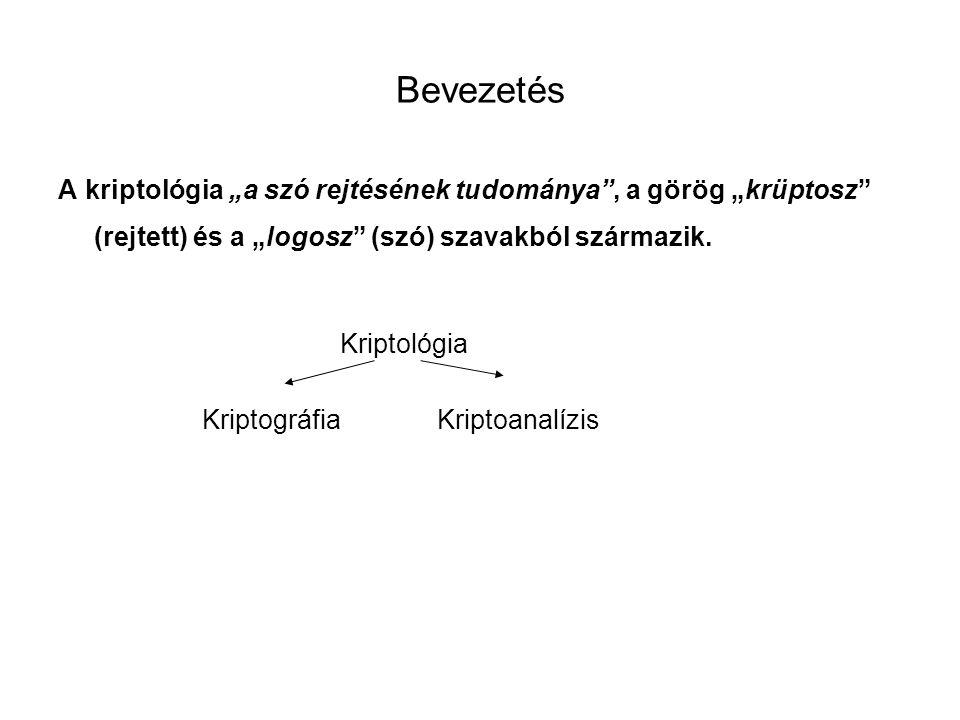 """Bevezetés A kriptológia """"a szó rejtésének tudománya , a görög """"krüptosz (rejtett) és a """"logosz (szó) szavakból származik."""