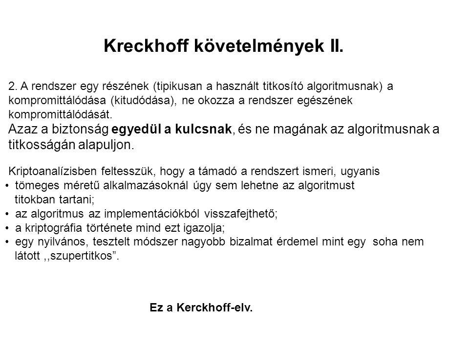 Kreckhoff követelmények II.