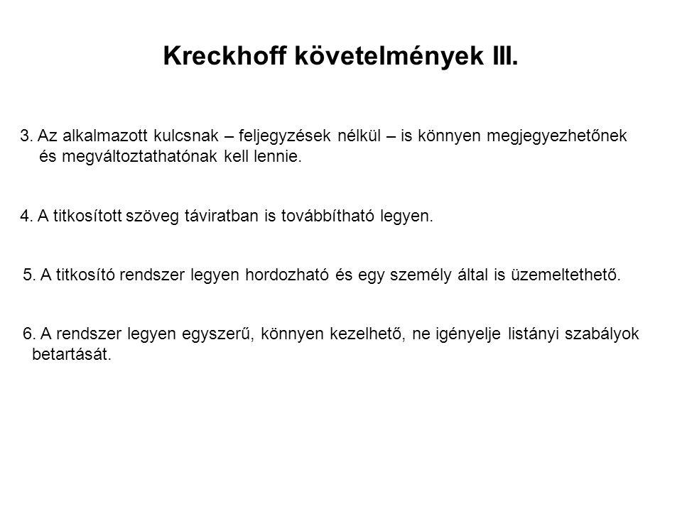 Kreckhoff követelmények III.