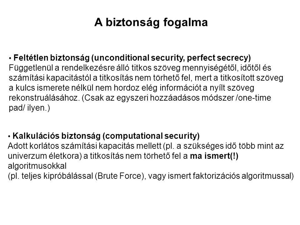 A biztonság fogalma Feltétlen biztonság (unconditional security, perfect secrecy)