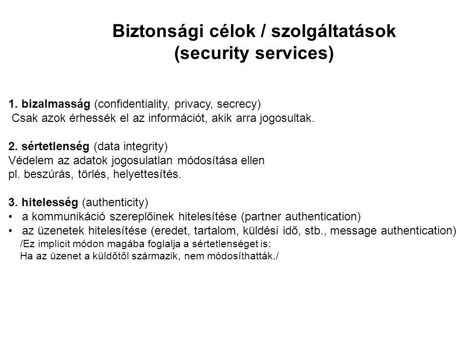 Biztonsági célok / szolgáltatások