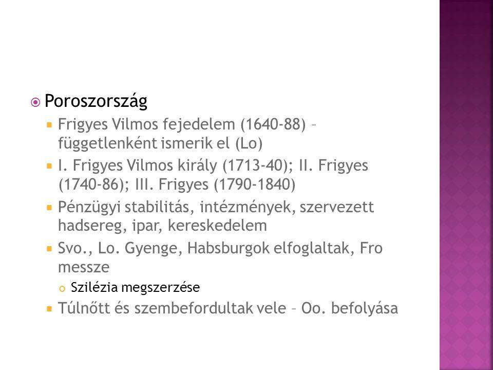 Poroszország Frigyes Vilmos fejedelem (1640-88) – függetlenként ismerik el (Lo)