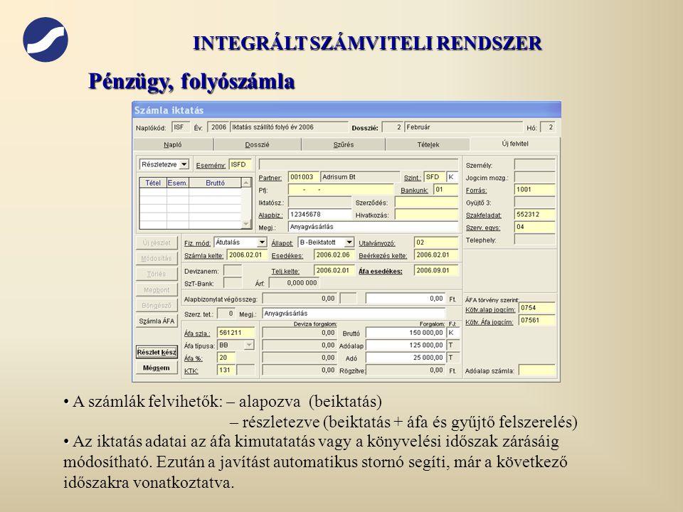 INTEGRÁLT SZÁMVITELI RENDSZER
