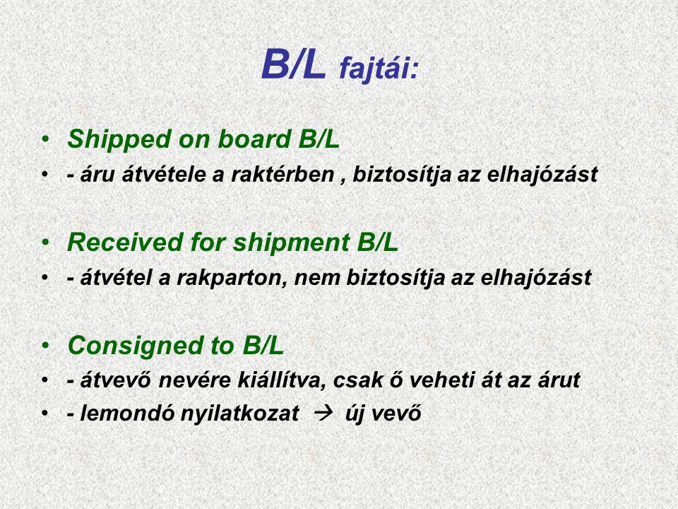 B/L fajtái: Shipped on board B/L Received for shipment B/L