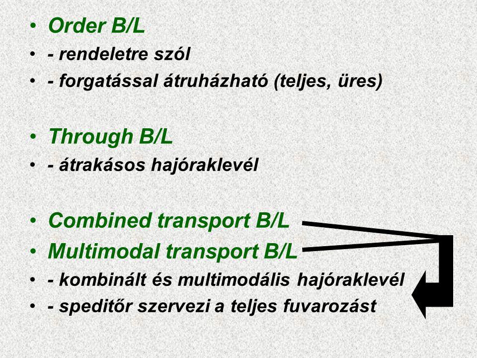Combined transport B/L Multimodal transport B/L