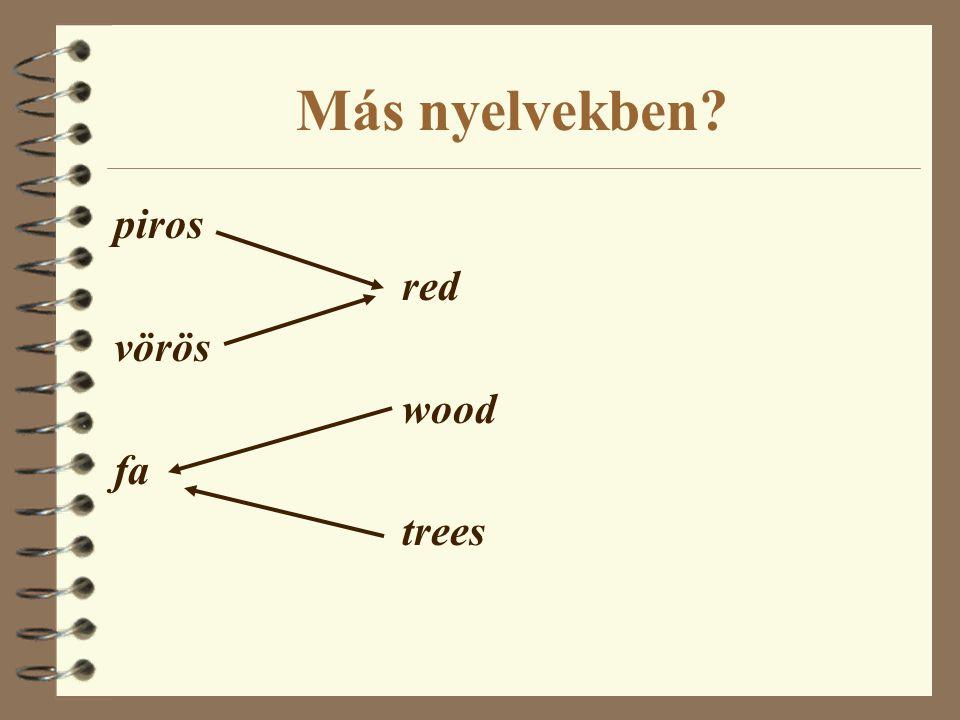 Más nyelvekben piros red vörös wood fa trees