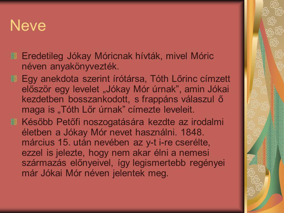 Neve Eredetileg Jókay Móricnak hívták, mivel Móric néven anyakönyvezték.