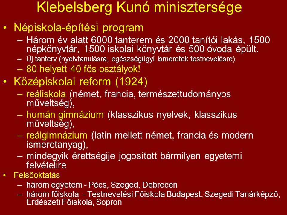 Klebelsberg Kunó minisztersége