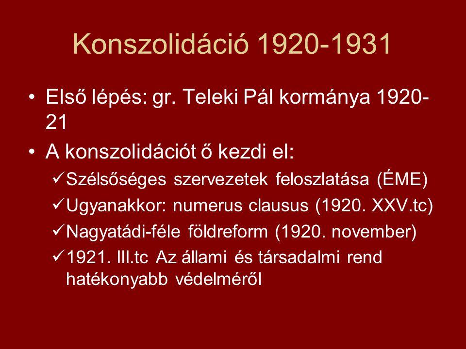 Konszolidáció 1920-1931 Első lépés: gr. Teleki Pál kormánya 1920-21