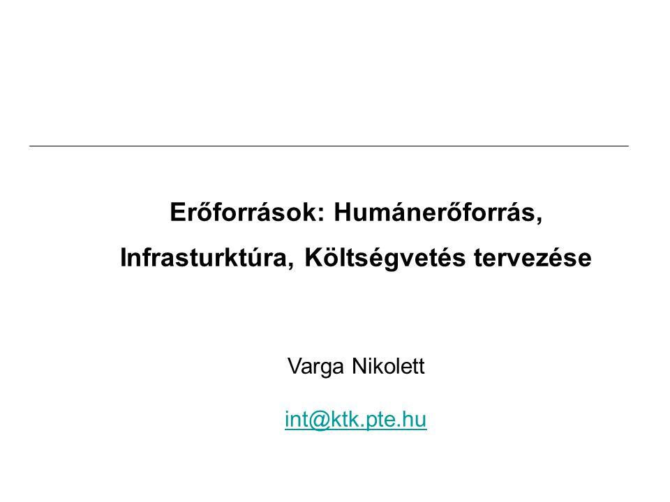 Erőforrások: Humánerőforrás, Infrasturktúra, Költségvetés tervezése Varga Nikolett int@ktk.pte.hu
