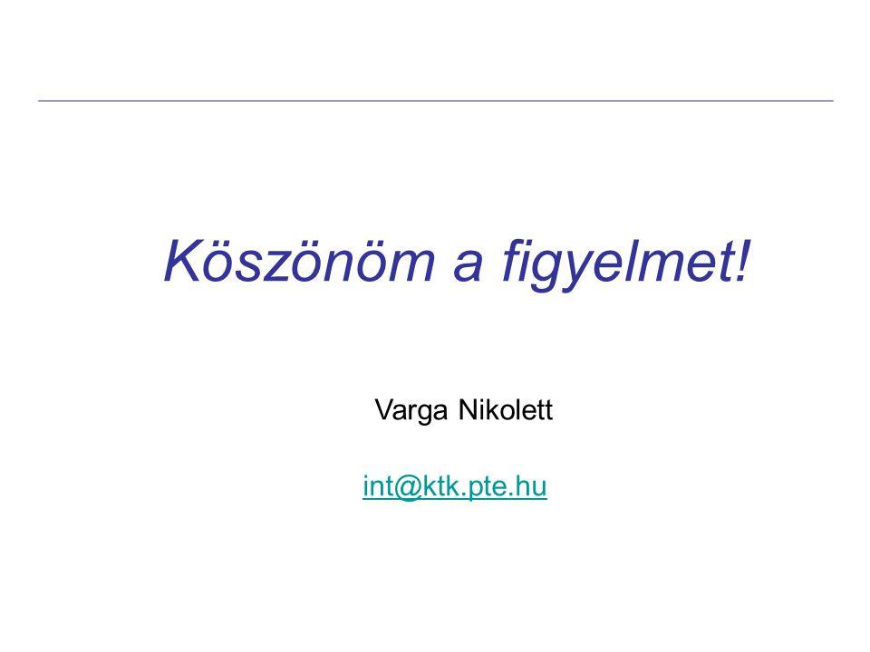 Köszönöm a figyelmet! Varga Nikolett int@ktk.pte.hu