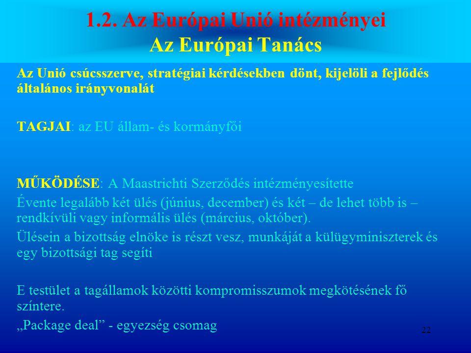 1.2. Az Európai Unió intézményei Az Európai Tanács