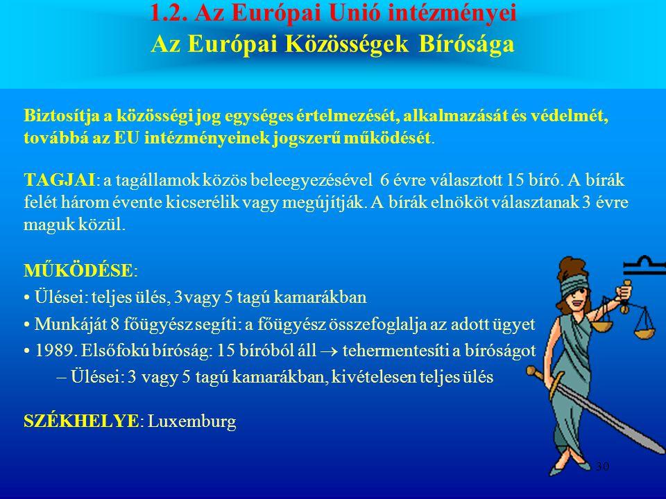 1.2. Az Európai Unió intézményei Az Európai Közösségek Bírósága