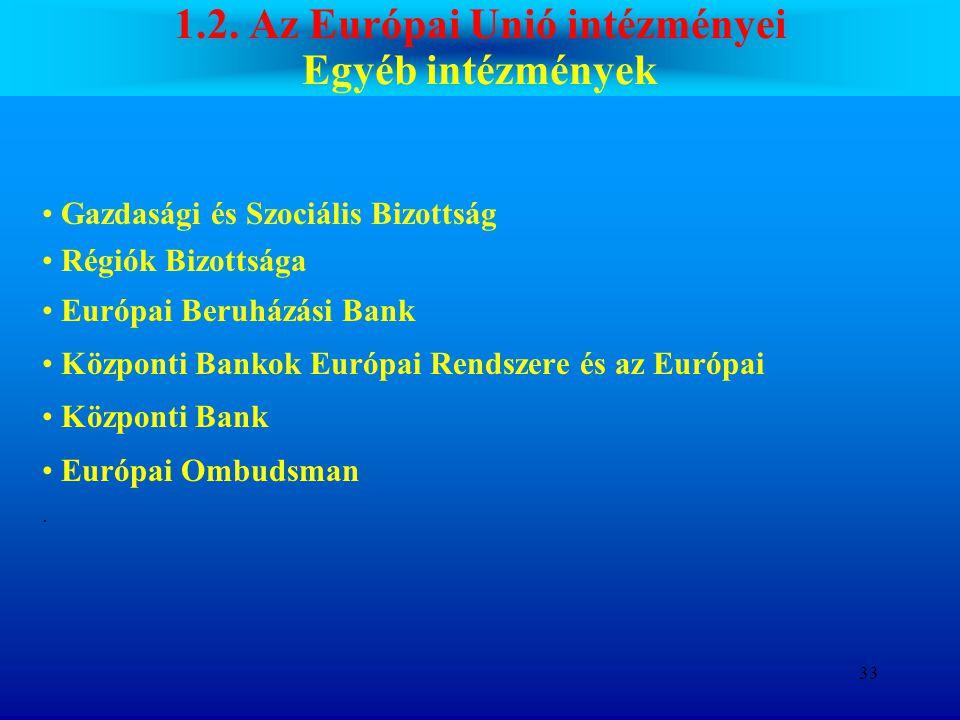 1.2. Az Európai Unió intézményei Egyéb intézmények