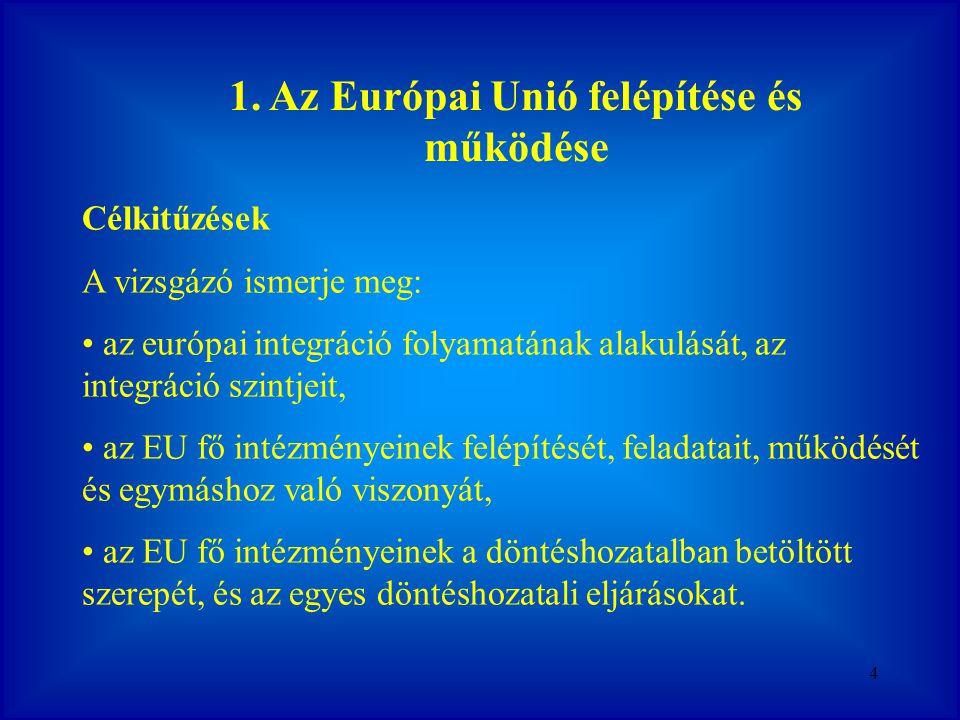 1. Az Európai Unió felépítése és működése