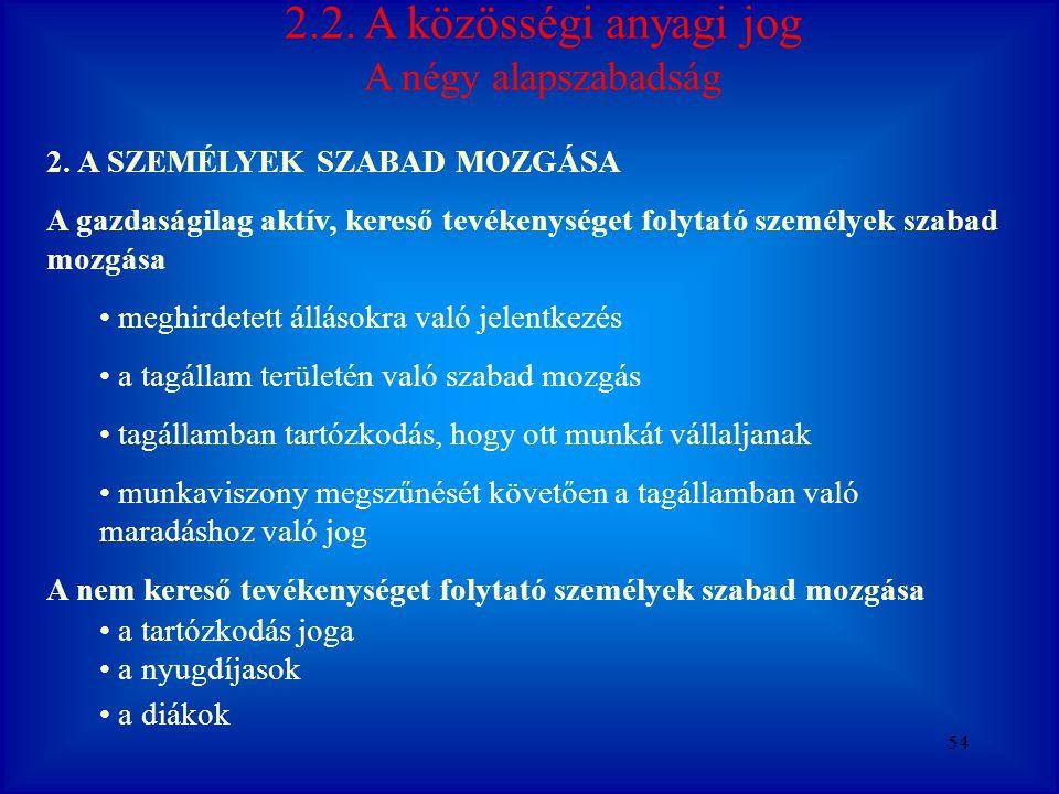 2.2. A közösségi anyagi jog A négy alapszabadság