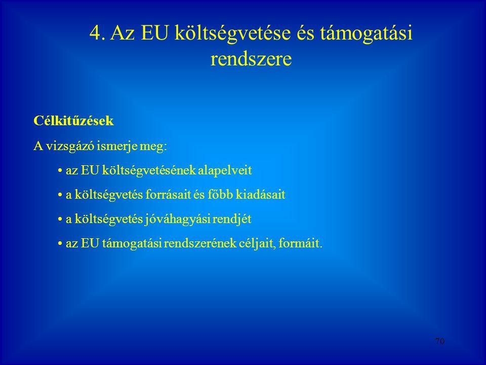 4. Az EU költségvetése és támogatási rendszere