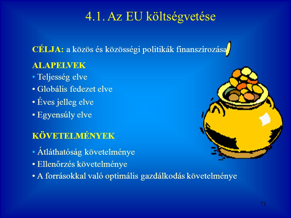 2017.04.04. 4.1. Az EU költségvetése. CÉLJA: a közös és közösségi politikák finanszírozása. ALAPELVEK.