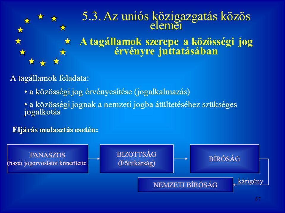 A tagállamok szerepe a közösségi jog érvényre juttatásában