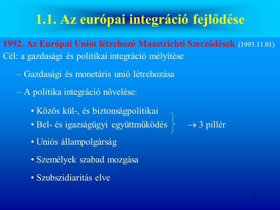 1.1. Az európai integráció fejlődése