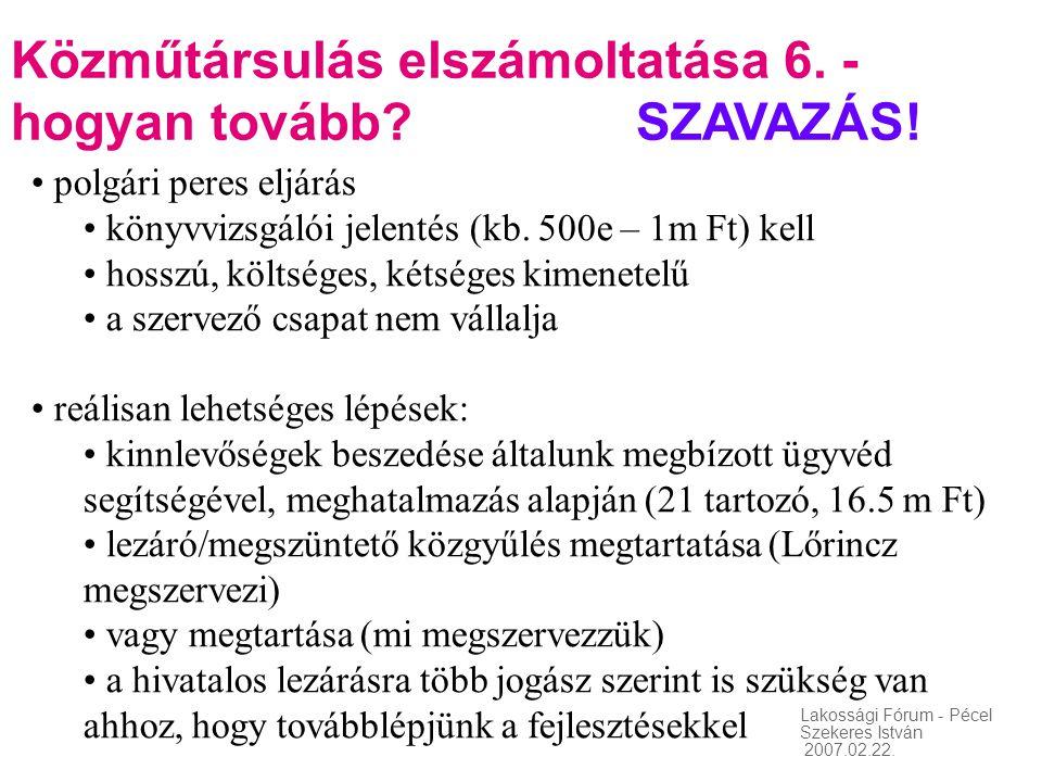 Közműtársulás elszámoltatása 6. - hogyan tovább SZAVAZÁS!