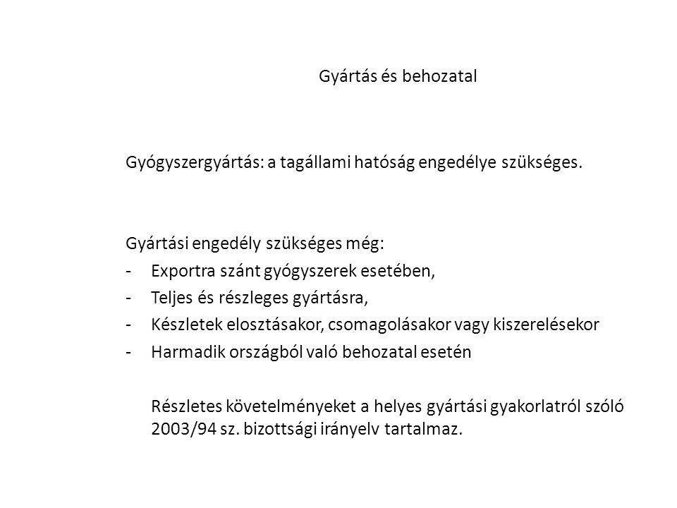 Gyógyszergyártás: a tagállami hatóság engedélye szükséges.