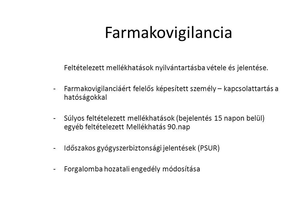 Farmakovigilancia Feltételezett mellékhatások nyilvántartásba vétele és jelentése.