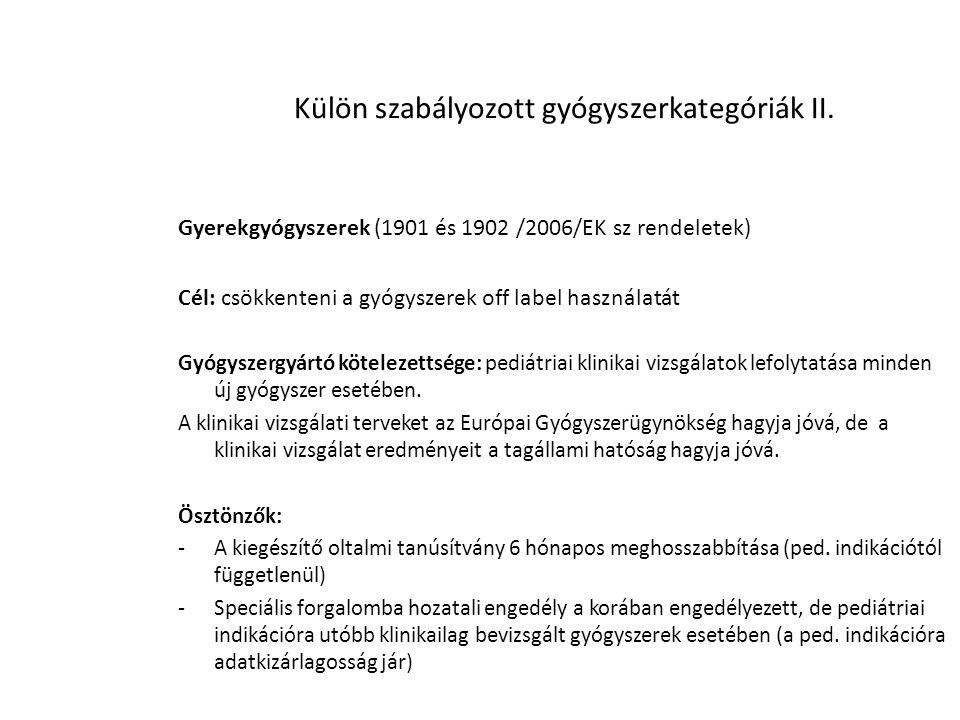 Külön szabályozott gyógyszerkategóriák II.