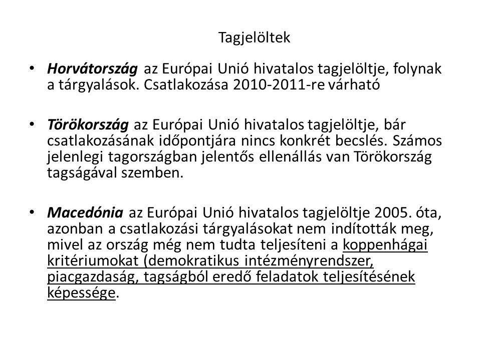 Tagjelöltek Horvátország az Európai Unió hivatalos tagjelöltje, folynak a tárgyalások. Csatlakozása 2010-2011-re várható.