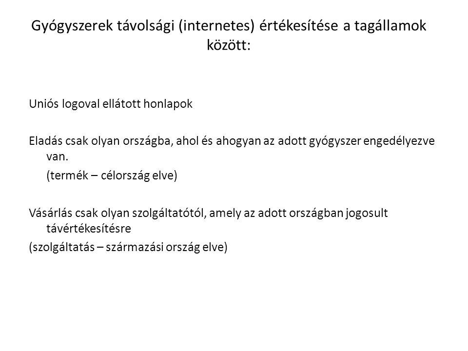 Gyógyszerek távolsági (internetes) értékesítése a tagállamok között: