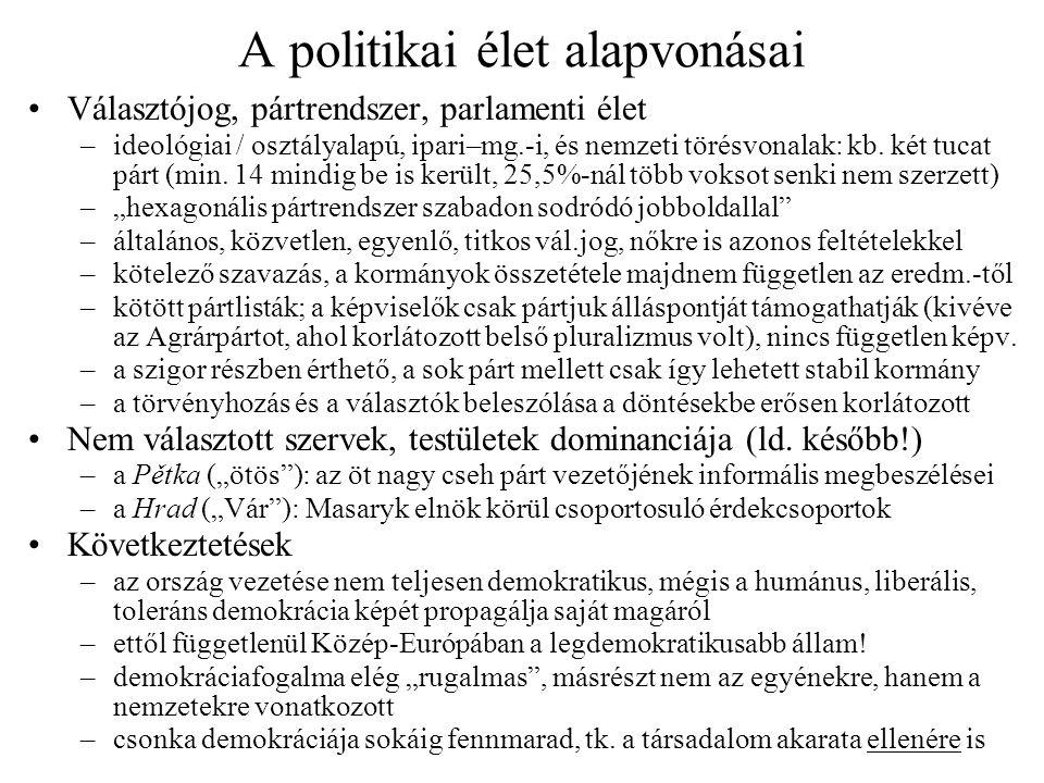 A politikai élet alapvonásai