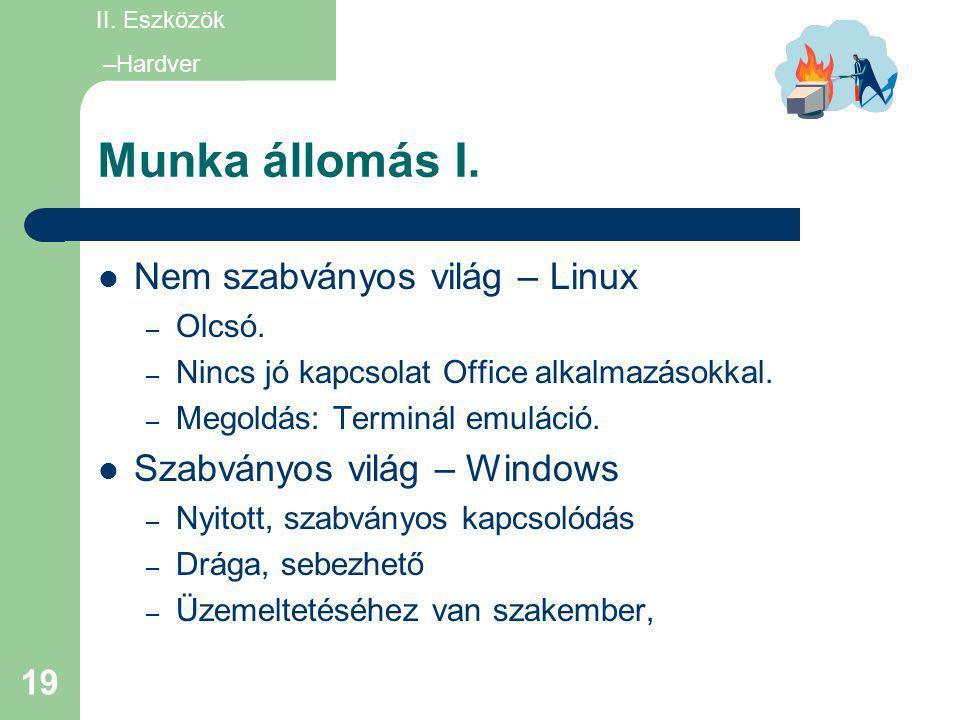 Munka állomás I. Nem szabványos világ – Linux