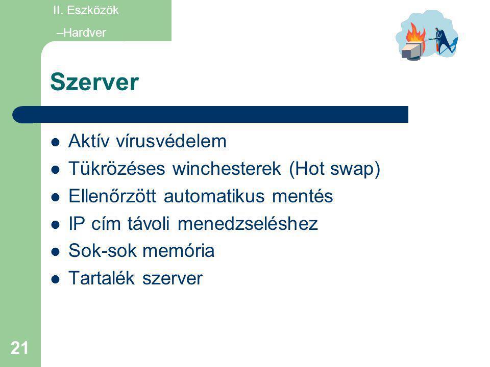 Szerver Aktív vírusvédelem Tükrözéses winchesterek (Hot swap)