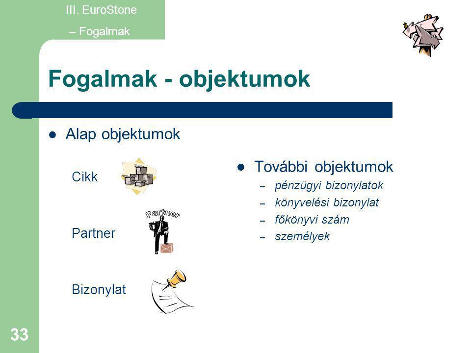 Fogalmak - objektumok Partner Alap objektumok További objektumok Cikk