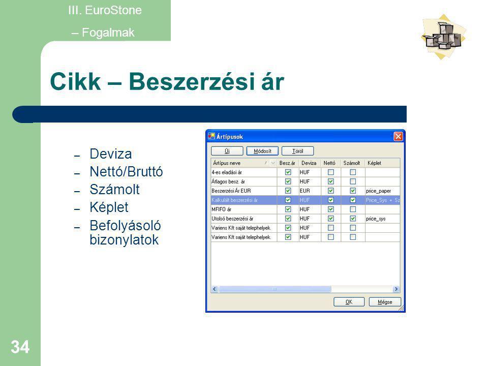 Cikk – Beszerzési ár Deviza Nettó/Bruttó Számolt Képlet