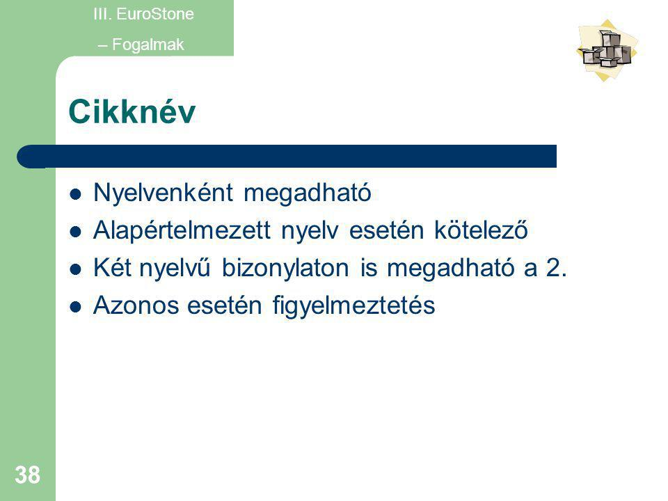 Cikknév Nyelvenként megadható Alapértelmezett nyelv esetén kötelező