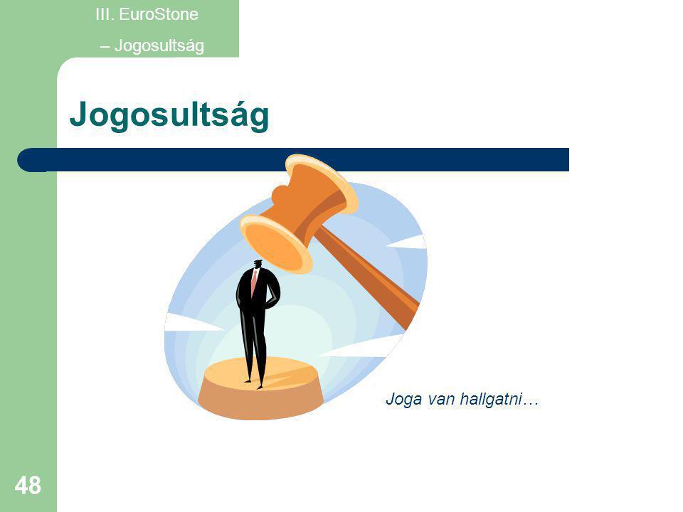 III. EuroStone – Jogosultság Jogosultság Joga van hallgatni…