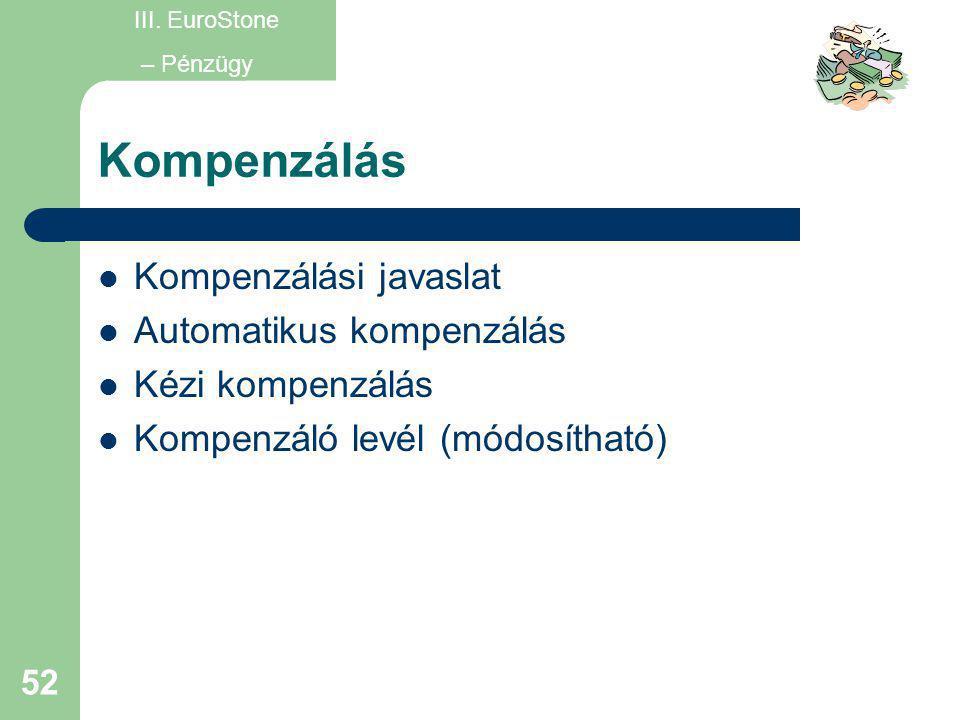 Kompenzálás Kompenzálási javaslat Automatikus kompenzálás