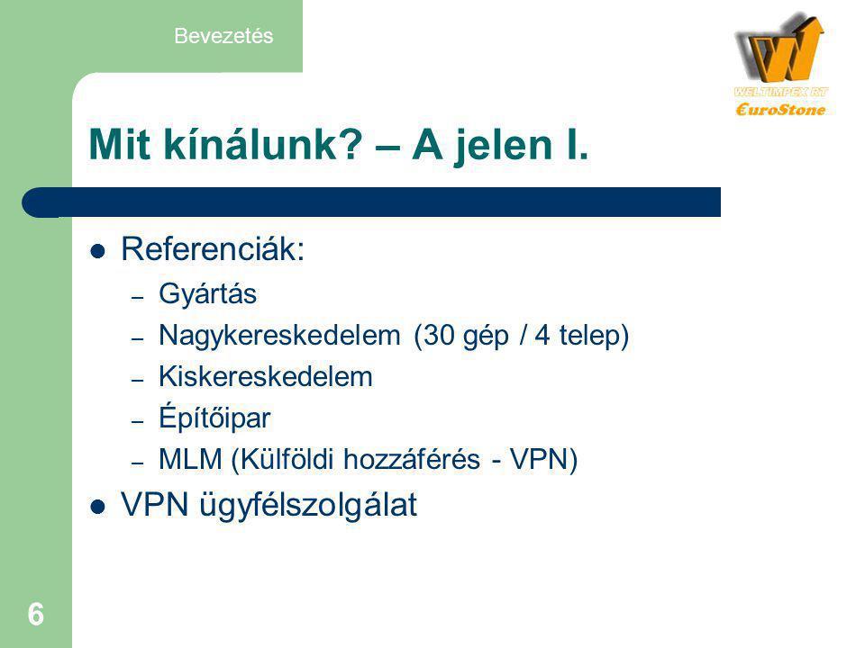 Mit kínálunk – A jelen I. Referenciák: VPN ügyfélszolgálat Gyártás